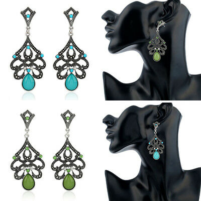 Vintage Ethnic Silver Chandelier Drop Dangle Crystal Ear Stud Earrings Jewelry
