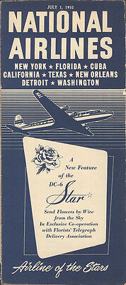 National Airlines system timetable 7/1/52 [4102]
