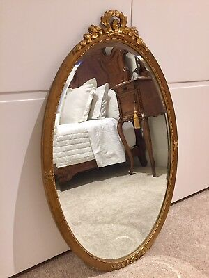 Antique French Oval Gilded Wall  Mirror