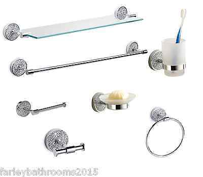 Crackle Glass Bathroom Accessories Fittings Silver Sparkle Mosaic Accessory