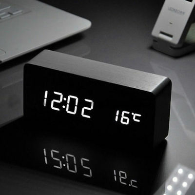 Digital LED Wood Desk Table Alarm Clock Timer Thermometer Snooze Voice Control