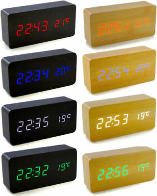 Voice Control Calendar Thermometer Wooden Wood LED Digital Alarm Clock USB/AAA