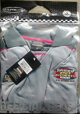 V8 Supercars LADIES Size 14  2014 Bathurst 1000 Sponsor Polo Pink/Grey New w/Tag