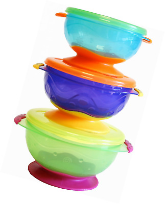 3 Packs Stackable Suction Baby Toddler Feeding Bowl With Lid BPA Free No Spill