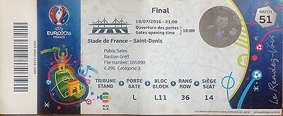 EURO 2016 FINAL PORTUGAL v FRANCE USED TICKET