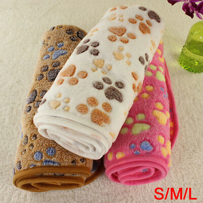 Warm Pet Mat Small Large Paw Print Dog Puppy Fleece Soft Blanket Bed Cushion UK
