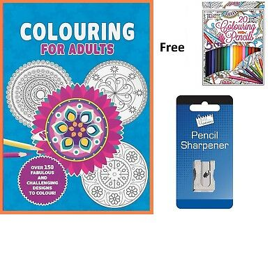 Jumbo Colouring for Adults Book with 150 pages & 20 colours & Sharpener
