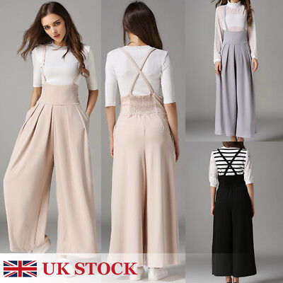 Women Casual Pleated High Waisted Wide Leg Palazzo Pants Suspenders Trousers S-L