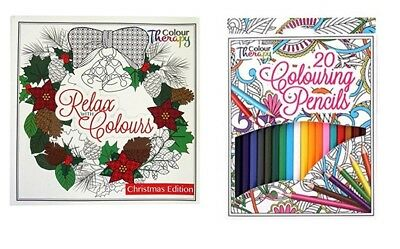 Colouring Therapy Christmas Premium Adult Colouring Book & 20 Colouring Pencils