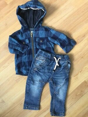 Next Baby Boys Autumn / Winter Outfit 3-6 Months Thick Hoodie Shirt, Jeans