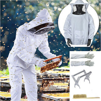 Professional Cotton Full Body Beekeeping Bee Keeping Suit Beekeeper w/ Veil Hood