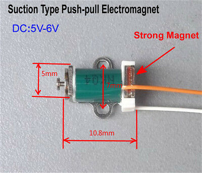 DC 5v 6v Suck Type Push Pull Solenoid Electromagnet DC Micro Rod Solenoid 6mm