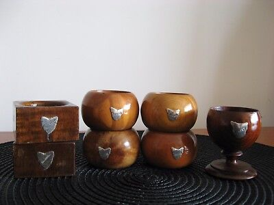Vintage TASMANIAN TIMBER Napkin Rings STERLING Silver MAP EGG CUP Souvenir