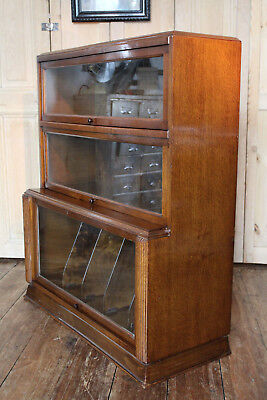 Deco Globe Wernick Style Oak Bookcase With File Or Record Sections Cabinet