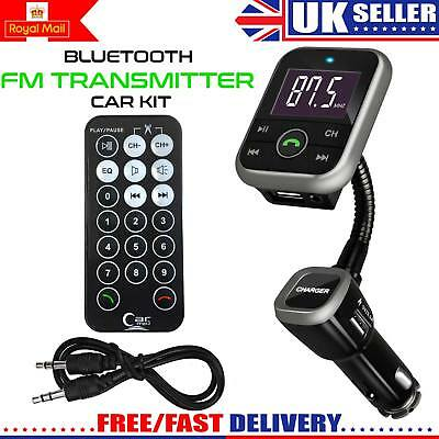 2018 New Wireless Bluetooth Car FM Transmitter Radio MP3 Player & USB Charger UK