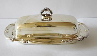 Vintage Classic Silver Plate BUTTER DISH with glass insert