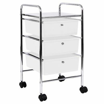 3 Drawer Trolley White Portable Salon Office Mobile Storage New By Home Discount
