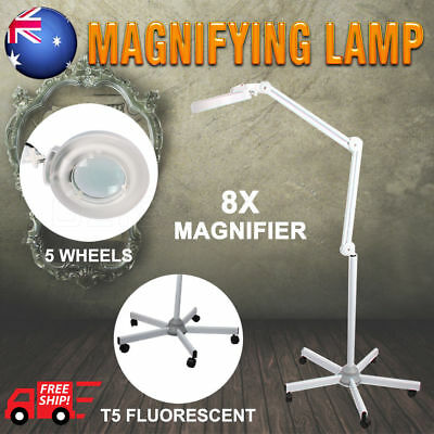 New Magnifying Lamp Glass Lens Fluorescents Bulbs 8x Magnifier 5 Wheels On Stand
