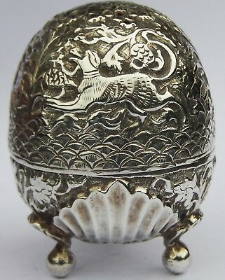 Fine Antique Indo Persian Egg Shaped Solid Silver Pepperette; Lucknow c1890