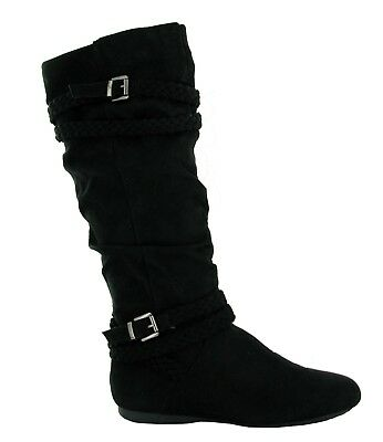 New Ladies Black Flat Side Buckle Pull On High Knee Women Boots UK Size 3-8