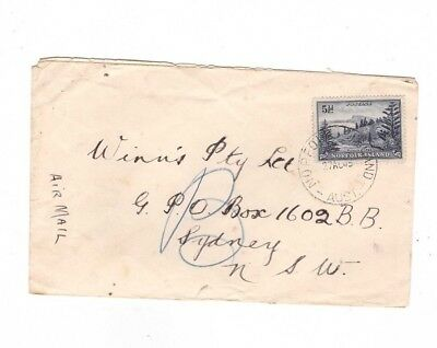 Norfolk Island 1948 5 1/2d Ball Bay Airmail Commercial Cover to NSW