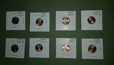 2009 Lincoln Penny 8-Piece Set ---Straight from Mint roll to Mylar flip--P&D set