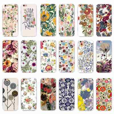 Spring Cute Luxury flowers Pattern Soft Back Case Cover Skin for iPhone&Samsung