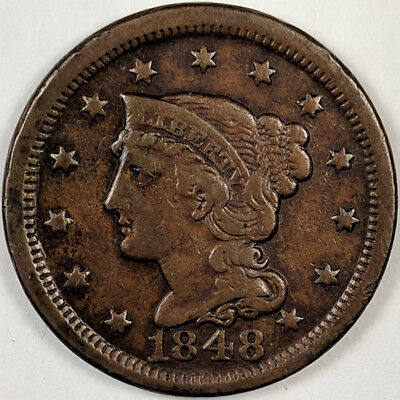 1848 Braided Hair Liberty Head Large Cent - Nice Us Copper Coin