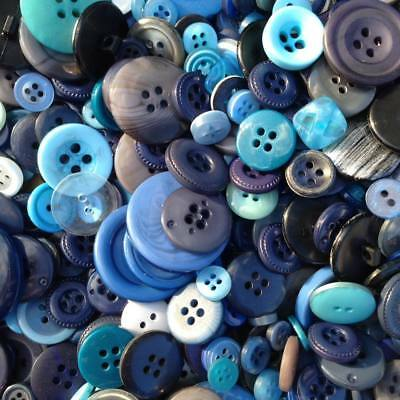 100 x Mixed Blue  Buttons, Craft, Scrapbooking, Cards, Clothes