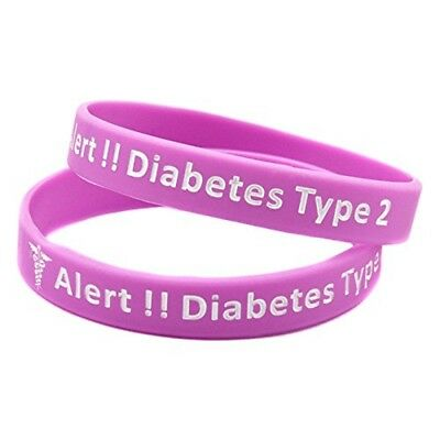 X2 (Pink) Type 2 Diabetic Medical Alert Silicone Wristband Bracelet Kids Adult
