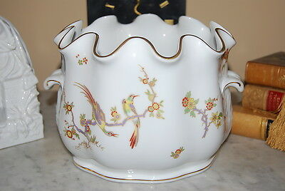 Richard Ginori Italy Old Milan #0680 Bird Decorated Large Porcelain Planter Vase