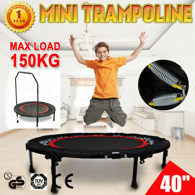 Mini Trampoline Handrail Exercise Workout Gym Cardio Rebounder Indoor Super Load