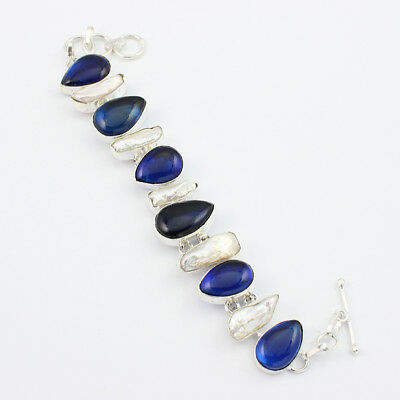 Blue Onyx Mother Pearl Fashion Jewelry .925 Silver Plated Bracelet  S13732