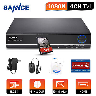 SANNCE 4TB HDD 4IN1 4CH 1080N Security DVR Email Alert Remote APP Home H41NK4T