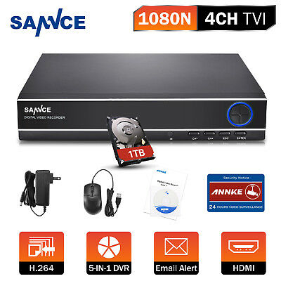 SANNCE 4CH 1080N 5IN1 HD DVR HDMI Home Security System Remote Motion H41NK + 1TB