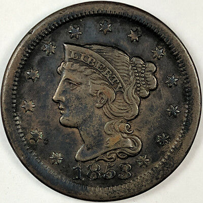 1853 Braided Hair Liberty Head Large Cent - Nice Us Copper Coin