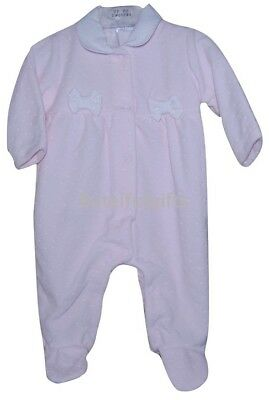 Spanish Style Baby Girl Pink Velour Bow Sleep Suit Romper Newborn 0-3 3-6 Mth