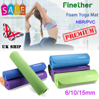 Yoga Mat Exercise Fitness Physio Pilates Gym Foam Mat 6/10/15mm Workout Non Slip
