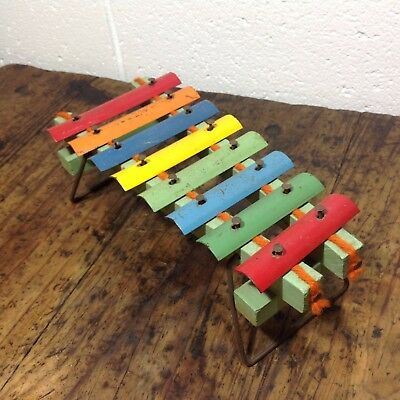 Vintage Tin and Wood Toy Xylophone