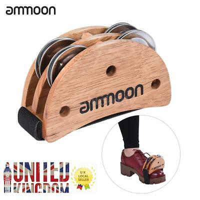 ammoon Elliptical Cajon Box Drum Accessory Foot Jingle Tambourine 【UK STOCK】