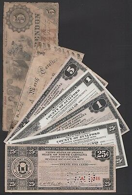 L146 USA North Carolina paper money items incl. 19th century issues