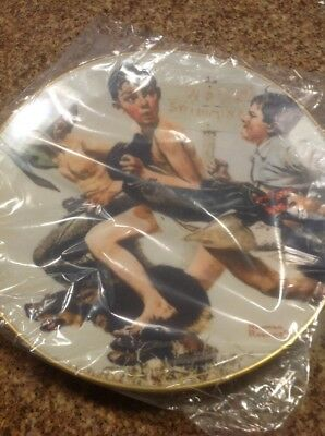 """Norman Rockwell Collector Plate """"No Swimming"""", 1974 Gorham Fine China, NIB"""