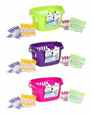 1 x  Peg Tidy Basket Bag and 24 Pastel Jumbo Clothes Pegs UK Quality Product