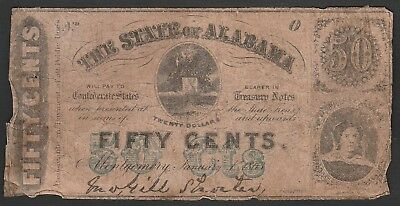 L150 USA State of Alabama 50 cents 1863, PS212, Civil War issue