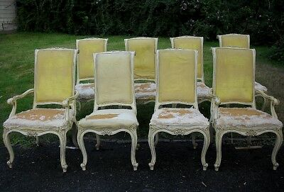 VINTAGE SET of 8 KARGES FRENCH LOUIS XV STYLE DINING ROOM CHAIRS