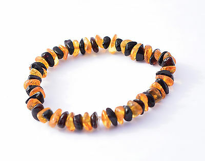 Baltic Amber Bracelet Natural Shape Polished Elastic String Handmade 7inches