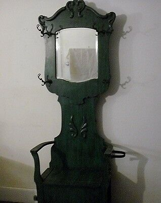 ANTIQUE c 1900 AMERICAN OAK HALL TREE BENCH STAND w/ ORIGINAL HARDWARE - PAINTED