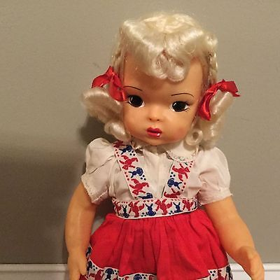 Doll Terri Lee Platinum Raysheen Wig Beautiful original Outfir  1950s
