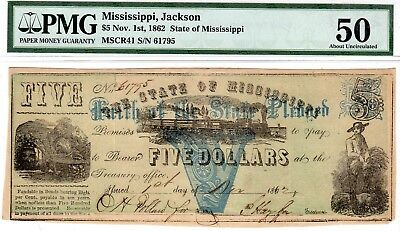 MS-13A CR-41 $5.00 Mississippi Paper Money 1862 - PMG About Uncirculated 50!!
