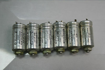 6x Vintage 0,5 µf Bosch MP25 750V capacitors from year 1957